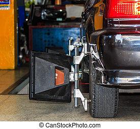 abrazadera rueda, coche, máquina, automatizado, fijo, ...