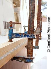 abrazadera, tornillo, herramienta, planchado, carpintero,...