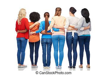 abrazar, espalda, grupo, mujeres, internacional