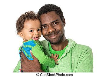 abrazar, niño, uso, concepto, amor, padre, aislado, él,...