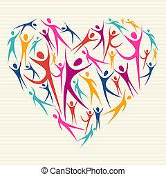 abrazo, concepto, diversidad, corazón
