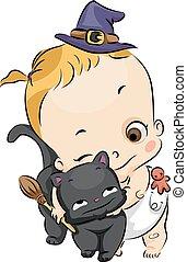 abrazo, gato, bruja, niña negra, bebé, niño