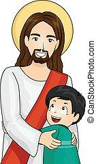 abrazo, niño, niño, cristo, elasticidad, jesús