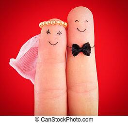 abrazo, recién casados, pintado, aislado, dedos, plano de ...