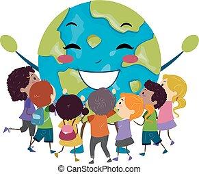 abrazo, stickman, niños, ilustración, mascota, tierra
