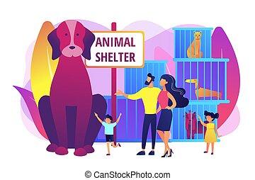 abri, concept, illustration, vecteur, animal