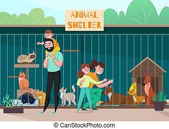 abri, famille, animal, composition