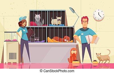 abri, horizontal, animal, illustration