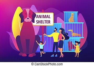 abri, illustration, concept, vecteur, animal