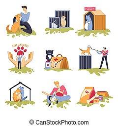 abri, maison, félin, canin, chats, chiens