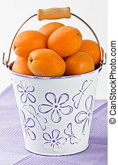 abricot, blanc, seau