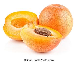 abricot, coupure, fruits
