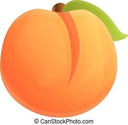 abricot, entier, icône, style, dessin animé