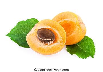 abricot, feuille, vert, isolé