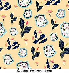 abricot, heureux, modèle, florals., chat