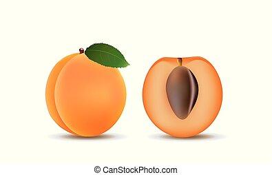 abricot, moitié, fruit, entier