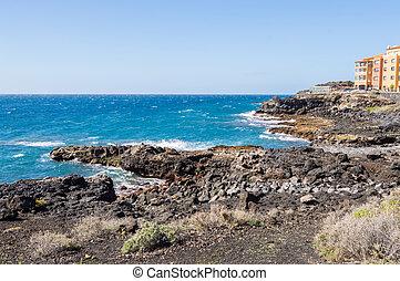 abrigos, νησί , tenerife , ακτή , los , μαρίνα , ανατολή , νότιο , βλέπω