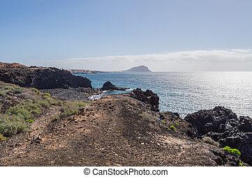 abrigos, νησί , tenerife , ακτή , los , νότιο , ανατολή , ισπανία , βλέπω