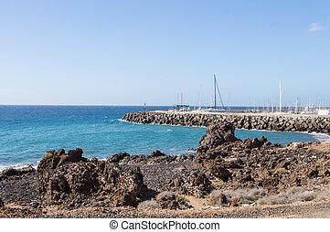 abrigos, νησί , tenerife , ακτή , los , νότιο , μαρίνα , ανατολή , ισπανία , βλέπω
