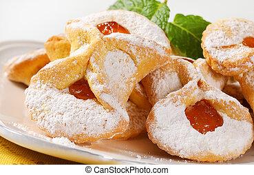 abrikoos, jam, gevulde, koekjes