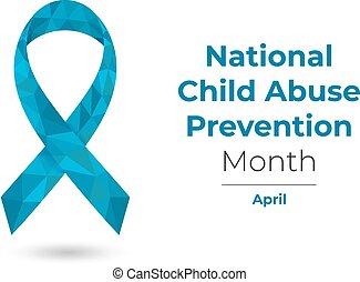 abril, azul, abuso, conocimiento, mes, niño, ilustración, ribbon., tela, nacional, vector, impresión, prevención, polygonal, aislado, white.