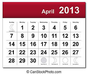 abril, calendário, 2013