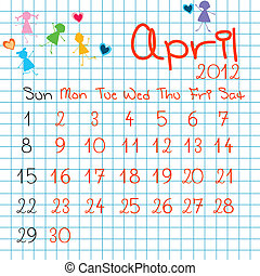 abril, calendario, 2012