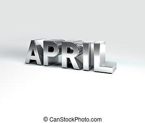 abril, calendario, metal, mes