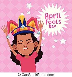 abril, fools, caricatura, día