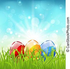 abril, huevos, plano de fondo, pascua, colorido