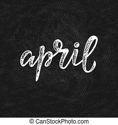 abril, manuscrito, -, nome, mês