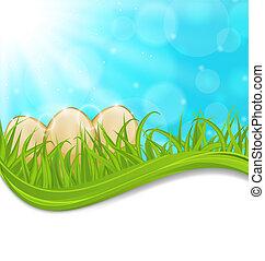 abril, plano de fondo, con, pascua, colorido, huevos