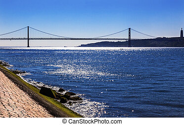 abril, tagus, 25, portugal, lisboa, ponte, belem, puente, ...