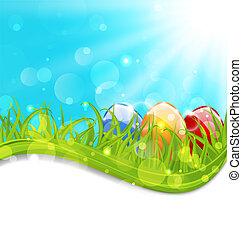 abril, tarjeta, huevos, conjunto, pascua, colorido