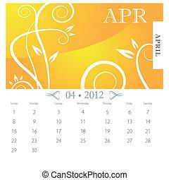 abril, vitoriano, calendário, página