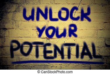 abrir, concepto, potencial, su