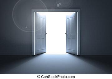 abrir portas, revelar, luz