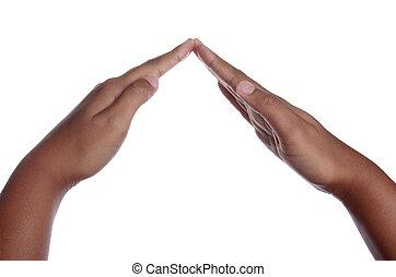 abriter, geste, main