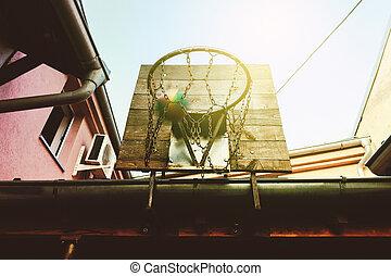 abroncs, kosárlabda, udvar
