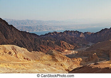 Abrupt and dangerous road to mountains of Eilat. Coast of ...