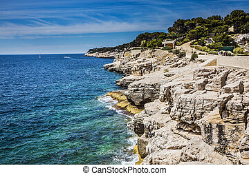 Abrupt stony coast - Famous National Park Calanques on the...