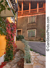 Abrupt turn. - Picturesque narrow street in mountain...