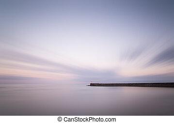 abrutissant, coucher soleil, phare, exposition, paysage, ...