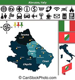 Abruzzo with regions, Italy
