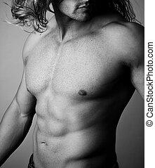 abs, de, un, muscular, hombre