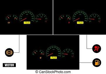 abs, fuel., cruscotto, indicators:, pallone antiurto, automobile