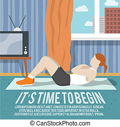 Abs training woman at home sport fitness lifestyle time to begin poster vector illustration