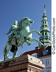 Absalon, founder of Copenhagen. - Statue downtown Copenhagen...
