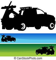 abschleppwagen, silhouette, banner, satz