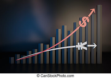 abschreibung, finanzieller erfolg, ausfall, preis, dollar, tabelle, rmb, vergrößern, markt, bestand